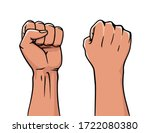 winner rised clenched fist.... | Shutterstock .eps vector #1722080380