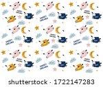 pattern with cartoon sheep ...   Shutterstock .eps vector #1722147283