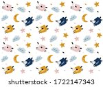 pattern with cartoon sheep ...   Shutterstock .eps vector #1722147343
