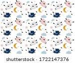pattern with cartoon sheep ...   Shutterstock .eps vector #1722147376