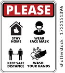 warning of covid 19 icons. keep ... | Shutterstock .eps vector #1722151396