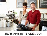 male and female staff in coffee ... | Shutterstock . vector #172217969
