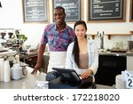 male and female staff in coffee ... | Shutterstock . vector #172218020