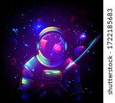 astronaut in space. galaxy neon ... | Shutterstock .eps vector #1722185683