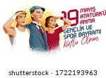 19 mayis ataturk'u anma ... | Shutterstock .eps vector #1722193963