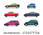 colorful modern cars flat icon... | Shutterstock .eps vector #1722277726