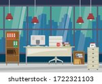 flat design modern office and... | Shutterstock .eps vector #1722321103
