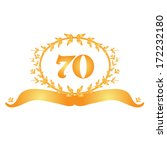 70th anniversary golden floral... | Shutterstock .eps vector #172232180