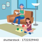 woman reading a book and girls... | Shutterstock .eps vector #1722329443