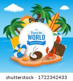 summer holidays composition... | Shutterstock .eps vector #1722342433