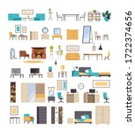 home domestic room furniture... | Shutterstock .eps vector #1722374656