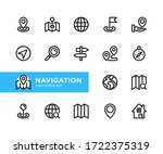 navigation vector line icons.... | Shutterstock .eps vector #1722375319