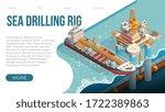 offshore oil rig. sea drilling... | Shutterstock .eps vector #1722389863