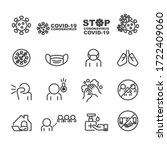covid 19 and protect icons set... | Shutterstock .eps vector #1722409060