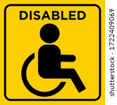 disabled toilet sign yellow... | Shutterstock .eps vector #1722409069