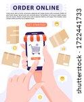 order online concept. hand... | Shutterstock .eps vector #1722441733