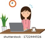 a woman who uses a computer at...   Shutterstock .eps vector #1722444526