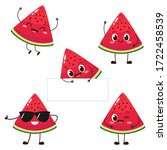watermelon slice character with ... | Shutterstock .eps vector #1722458539