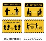 social distancing. footprint... | Shutterstock .eps vector #1722471220