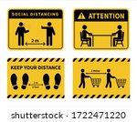 social distancing. footprint...   Shutterstock .eps vector #1722471220