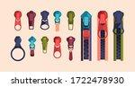 zipper and sliders puller set.... | Shutterstock .eps vector #1722478930