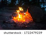 Bright Forest Campfire In The...