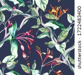 seamless pattern with lonicera... | Shutterstock . vector #1722483400