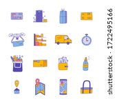 hand drawn delivery set vector...