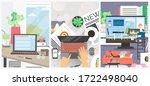 remote work vector poster... | Shutterstock .eps vector #1722498040