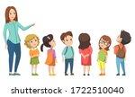 teacher standing with pupils... | Shutterstock .eps vector #1722510040