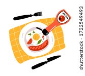 fried egg  sausage and ketchup. ... | Shutterstock .eps vector #1722549493