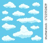 clouds white color icon set...   Shutterstock .eps vector #1722552829