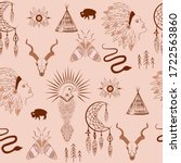seamless pattern with bohemian... | Shutterstock .eps vector #1722563860