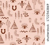 seamless pattern with bohemian...   Shutterstock .eps vector #1722563869