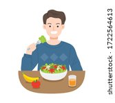 young men eating salads. diet... | Shutterstock .eps vector #1722564613