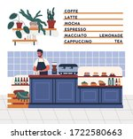 male barista in apron working... | Shutterstock .eps vector #1722580663