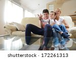 happy young family with kids in ... | Shutterstock . vector #172261313