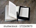 modern ebook reader on book on... | Shutterstock . vector #172265873