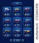 space game weapon set. blaster  ... | Shutterstock .eps vector #1722661456