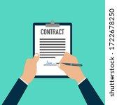 hand signing paper document pen ...   Shutterstock .eps vector #1722678250
