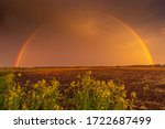 Rural Landscape With Rainbow...
