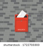 Open Mailbox With Letter. Red...