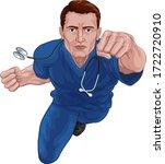 a nurse or doctor super hero in ... | Shutterstock .eps vector #1722720910