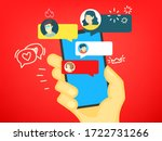 humans hand with modern... | Shutterstock .eps vector #1722731266