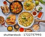 Asian Food Served. Plates  Pan...