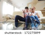 happy young family with kids in ... | Shutterstock . vector #172275899