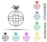 bird over the globe multi color ...