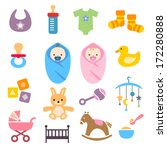 collection of cute baby icons | Shutterstock .eps vector #172280888