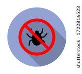 bug forbidden long shadow icon. ...