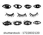 ink brush drawn eye. vector... | Shutterstock .eps vector #1722832120